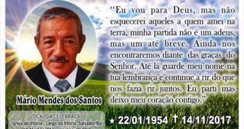 Nota de pesar pelo falecimento de Mário Mendes